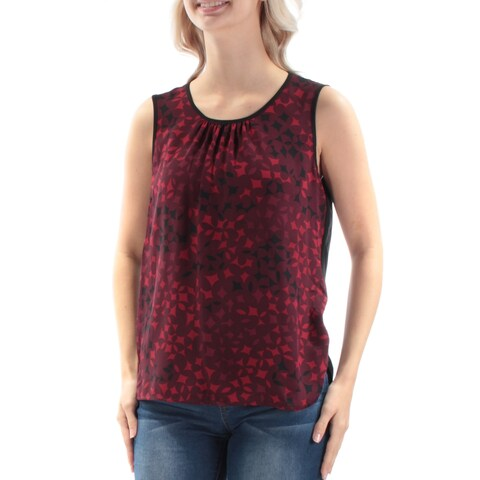 ANNE KLEIN Womens Red Printed Sleeveless Jewel Neck Top Size: 2