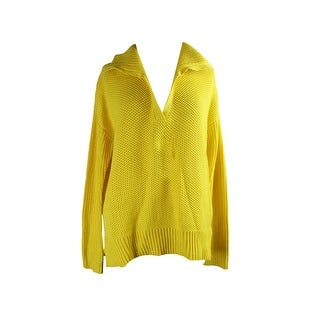 Lauren Ralph Lauren Yellow Fold-Over Collar Pullover L