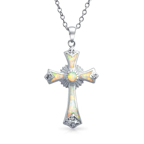 """Created White Opal CZ Christian Miracle Botonee Cross Eternal Circle Pendant Necklace Sterling Silver 18"""" Chain 1in"""