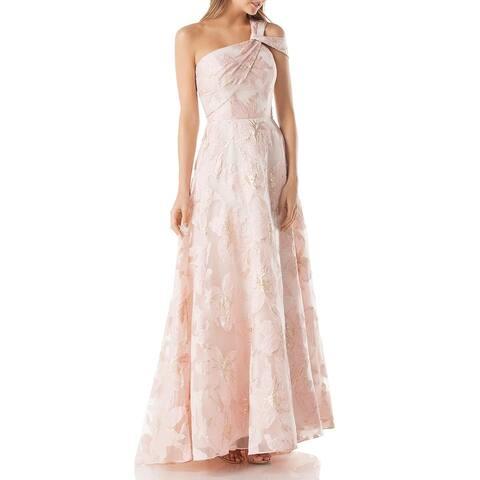 Carmen Marc Valvo Womens Evening Dress Floral One SHoulder - Blush/Gold