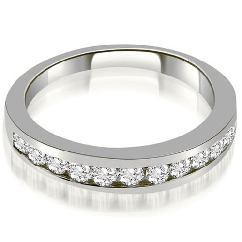 0.65 cttw. 14K White Gold Classic Channel Round Cut Diamond Wedding Band