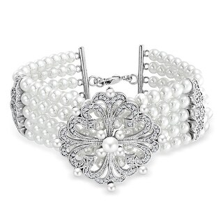 Bling Jewelry 5 Row Imitation Pearl Stretch Bridal Bracelet Rhodium Plated