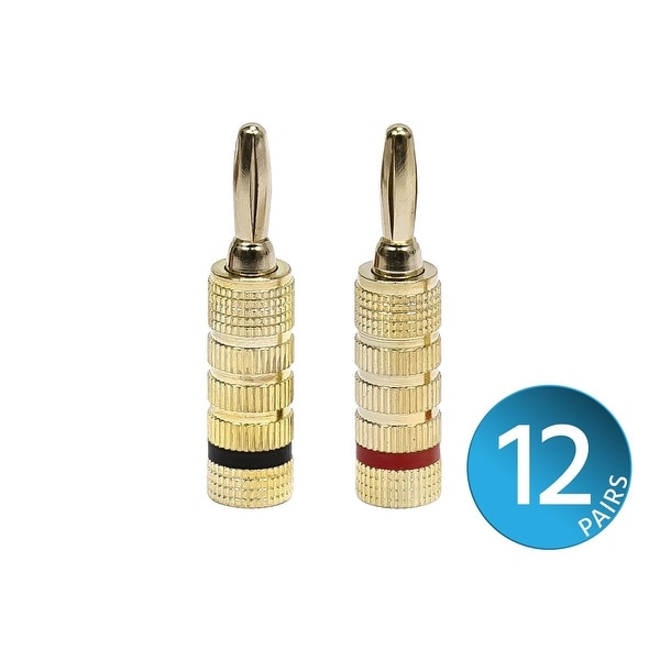 Monoprice 12 PAIRS Of High-Quality Gold Plated Speaker Banana Plugs, Closed Screw Type