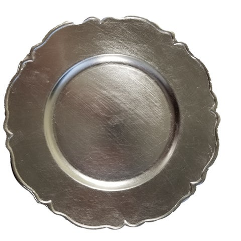 C216-123030-8 The Urban Port Silver Charger Plates Set Of 8