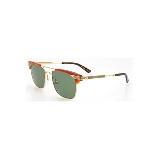 Gucci Green Square Sunglasses Gg0287S-004 52 - avana-gold-green - One size