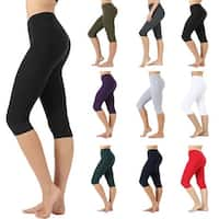 NioBe Clothing Womens High Waist Basic Solid Cotton Soft Capri Leggings