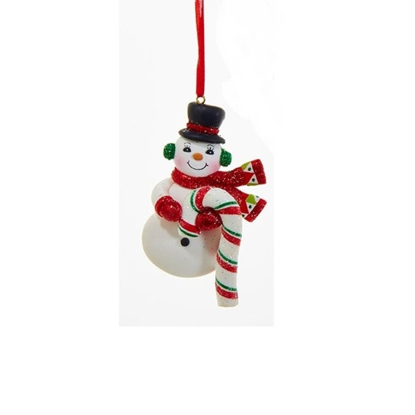 "4.5"" Peppermint Twist Snowman with Red Scarf, Mittens and Candy Cane Christmas Ornament"