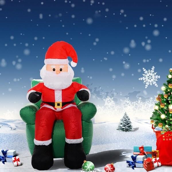 Costway 6 Ft Airblown Inflatable Christmas Xmas Santa Claus Sofa Decor Lawn Yard Outdoor