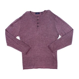 Toscano Purple Red Mens Size 2XL Henley Wool Blend Tee Shirt