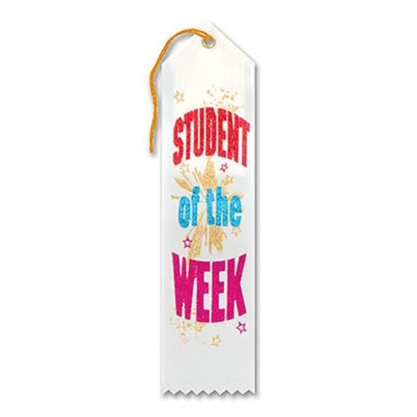 """Pack of 6 White """"Student Of The Week Award"""" School Award Ribbon Bookmarks 8"""" - N/A"""