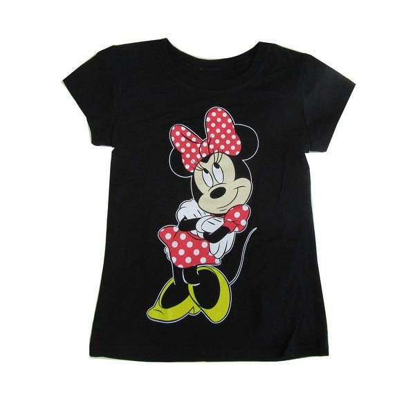 80d1af51 Shop Disney Little Girls Black Minnie Mouse Print Short Sleeved T-Shirt -  Free Shipping On Orders Over $45 - Overstock - 23614262