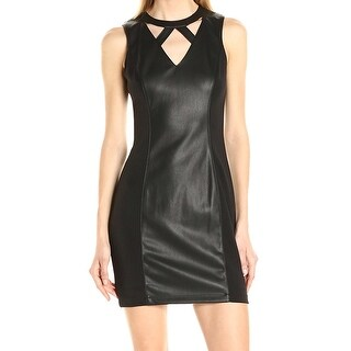 Guess NEW Black Paneled Women's Size 4 Faux-Leather Sheath Dress