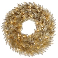 "36"" Champagne Wreath DuraL LED 100WmWt"