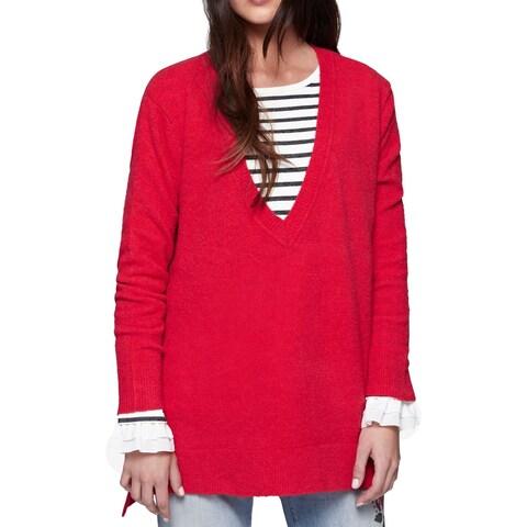 Sanctuary Red Women's Size Medium M Hi-Low V-Neck Wool Sweater