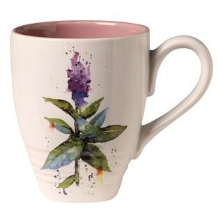 Demdaco Dean Crouser Artwork Flowering Peppermint Coffee Mug Tea Mug - 16 oz. Ceramic - 3 in. x 4.25 in. x 3.75 in.