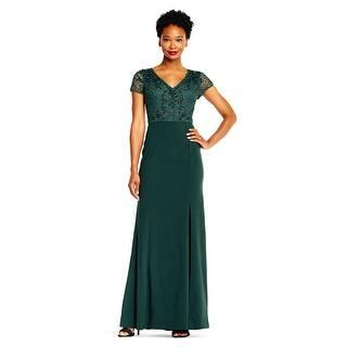 d1e299d0546 Adrianna Papell Short Sleeve Mermaid Gown Beaded Bodice