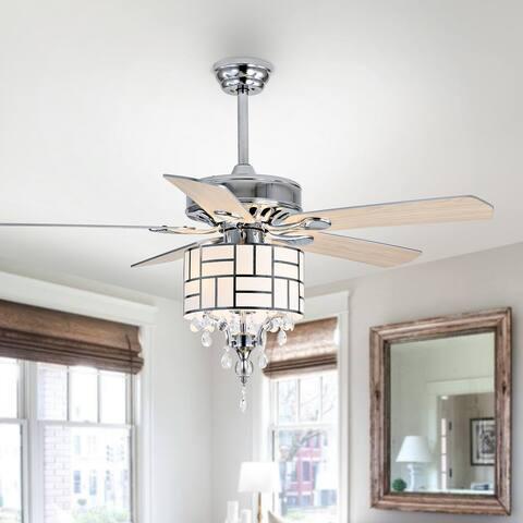 "Safavieh Lighting 52-inch Nori LED Ceiling Light Fan (with Remote) - 52"" W x 52"" L x 21.25""-26.25"" H"
