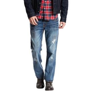 True Religion Men's Straight Flap Red Orange Big T Jeans 34 Burning Midnight