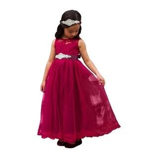 Little Girls Wine Sash Lace Bow Floor Length Scarlett Flower Girl Dress