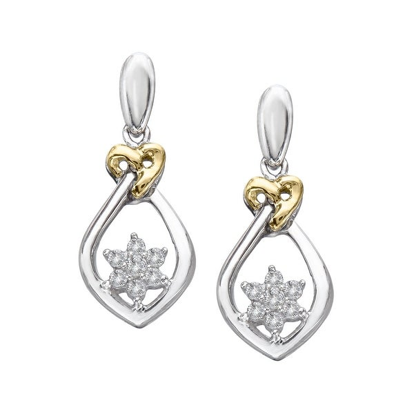 1/5 ct Diamond Drop Earrings in Sterling Silver & 14K Gold