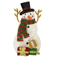 "31.5"" Lighted Tinsel Snowman with Gifts Christmas Outdoor Decoration - RED"
