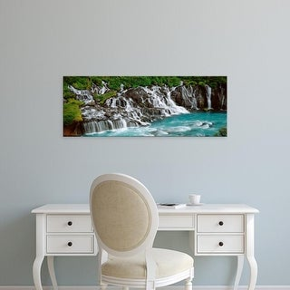 Easy Art Prints Panoramic Images's 'Waterfall In A Forest, Hraunfoss Waterfall, Iceland' Premium Canvas Art
