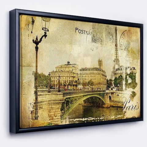 Designart 'Vintage Paris' Abstract Cityscape Framed Canvas Art