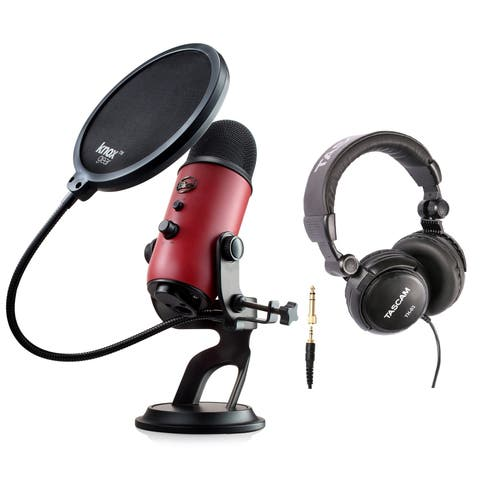 Blue Microphone Yeti USB Microphone (Satin Red) with Headphones and Pop Filter