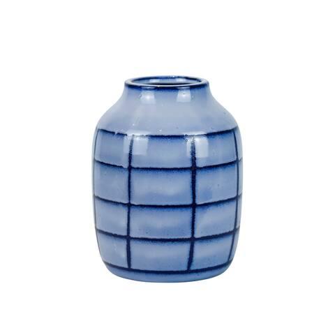 """Ceramic 8"""", Patterned Vase, Blue"""