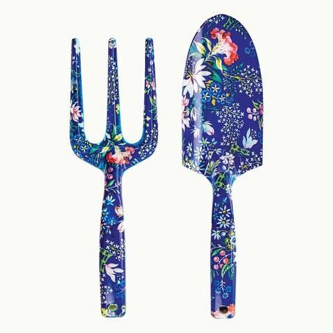 Wild & Wolf Blue Floral Garden Tool Set - 2 Piece Trowel & Hand Fork Set