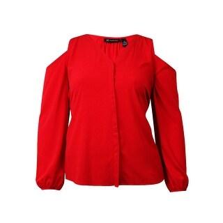 INC International Concepts Women's Hidden Button Up Blouse