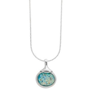 Women's Roman Glass Sterling Silver Oval Pendant Necklace