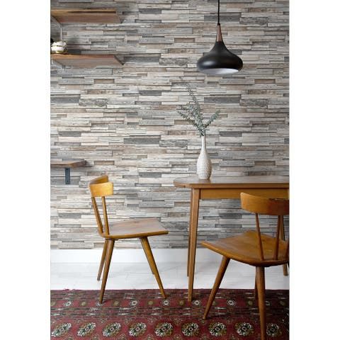 NextWall Reclaimed Wood Plank Peel and Stick Removable Wallpaper