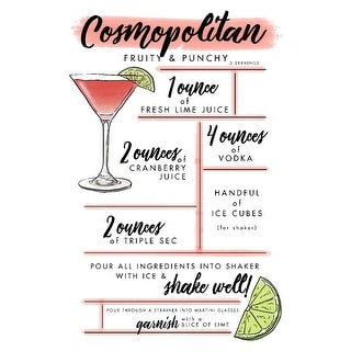 Cosmopolitan - Cocktail Recipe - LP Artwork (Art Print - Multiple Sizes)