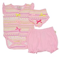 Baby Girls Pink Motif Print Tie Accent Bottoms Bloomers 3 Pc Bodysuit Set