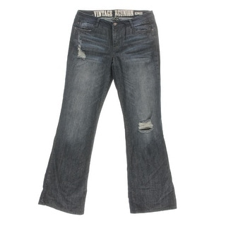 4 What It's Worth Womens Juniors Bohemian Destroyed Bell Bottom Jeans - 11