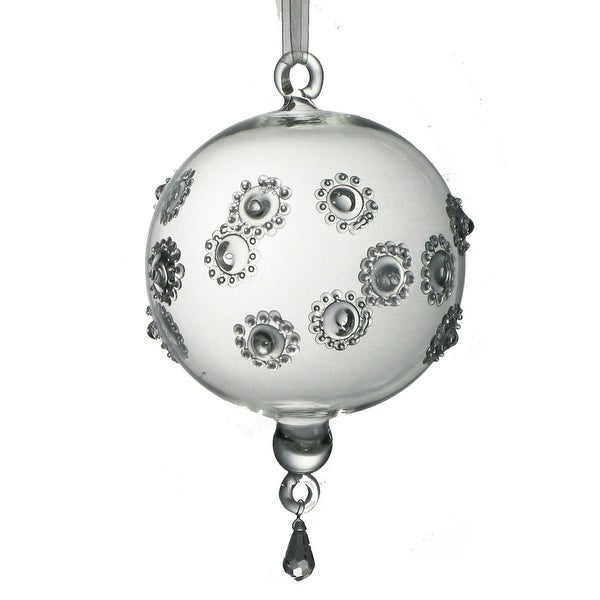 """Set of 2 Mouth Blown Embossed Clear Egyptian Glass Ball Christmas Ornaments 7"""""""