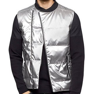 Calvin Klein NEW Silver Mens Size Large L Quilted Full-Zip Jacket Vest