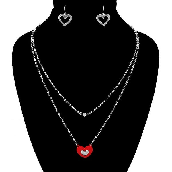 Heart Layers Necklace Set for Valentine's Day