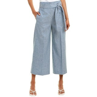 Theory Belted Linen-Blend Crop Pant