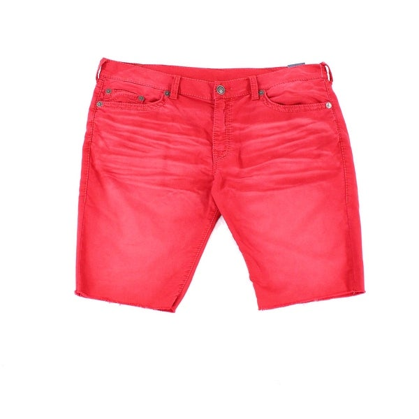 c639a5037f14f Shop True Religion NEW Red Mens 44 Geno Relaxed Slim Cut-Off Denim Shorts -  Free Shipping Today - Overstock - 21147056