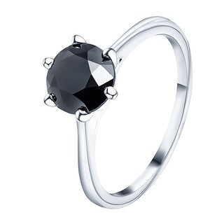 Prism Jewel 1.57 Carat Black Diamond Six Prong Engagement Solitaire Ring