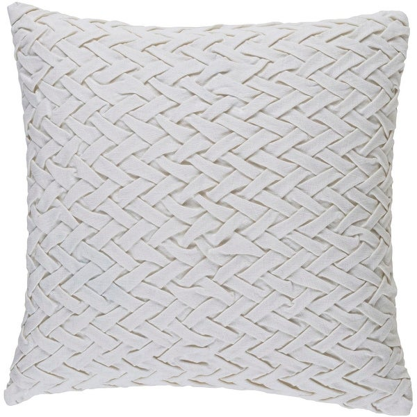 "22"" Piano Key White Woven Decorative Square Throw Pillow - Down Filler"
