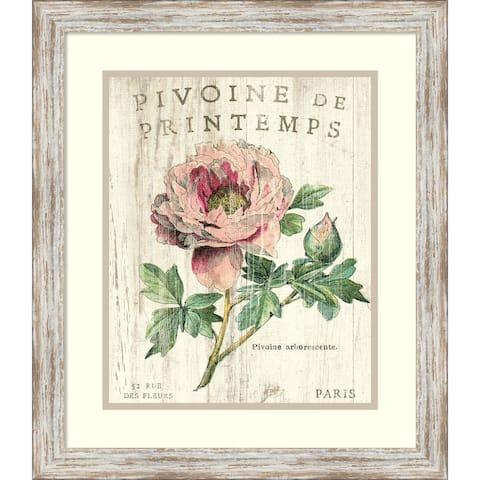 Framed Art Print 'Pivoine de Printemps' by Sue Schlabach 20 x 23-inch - Pink/Green