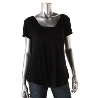 VELVET BY GRAHAM & SPENCER Womens Slub Short Sleeves T-Shirt
