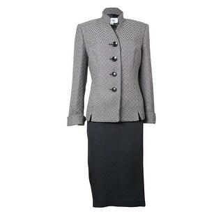Le Suit Women's Faux Leather Trim Tuscany Skirt Suit - 8