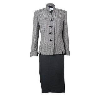 Le Suit Women's Faux Leather Trim Tuscany Skirt Suit - Black/Stone