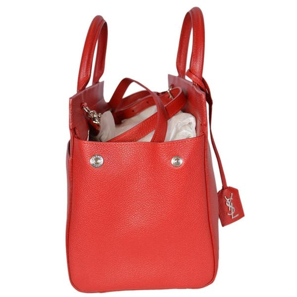 c501ebe7b166 ... Saint Laurent YSL 400413 Small Red Leather Cabas Rive Gauche Purse  Handbag ...
