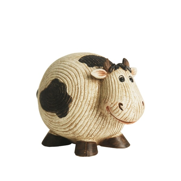 "7"" Grooved White and Black Roly-Poly Stone Cow Indoor/Outdoor Statue Decoration"