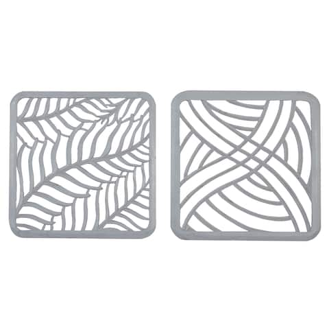 """Square Light Grey Carved Wood Wall Decor Set Of 2 23.5"""" X 23.5"""""""